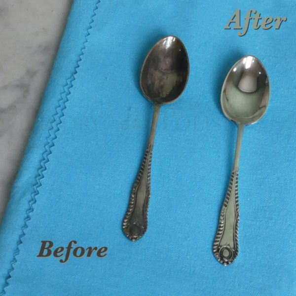 Silver cloth before & After on Silverware