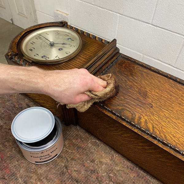 apply the wax to your clock