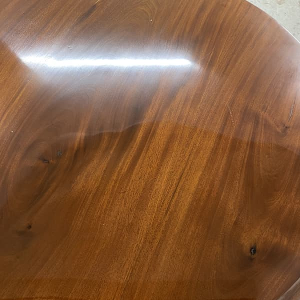 Table top half done using Priory Polishes burnishing cream