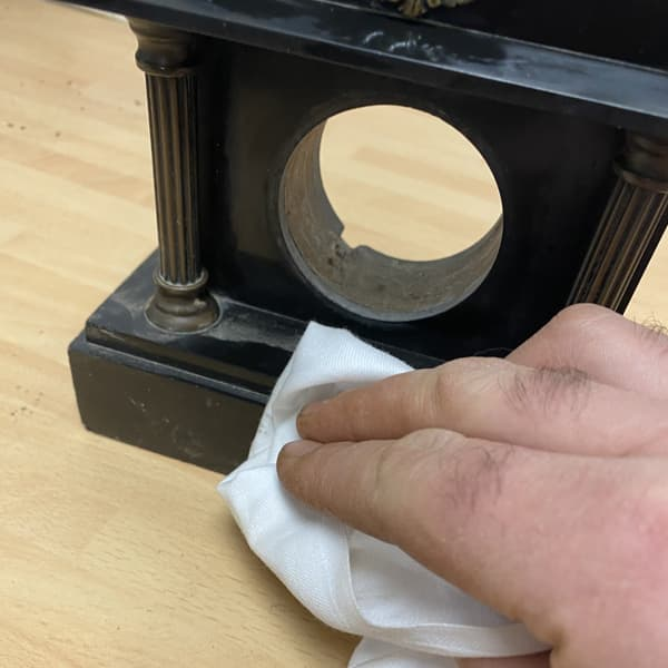 remove dirt using white spirit and wire wool or cloth