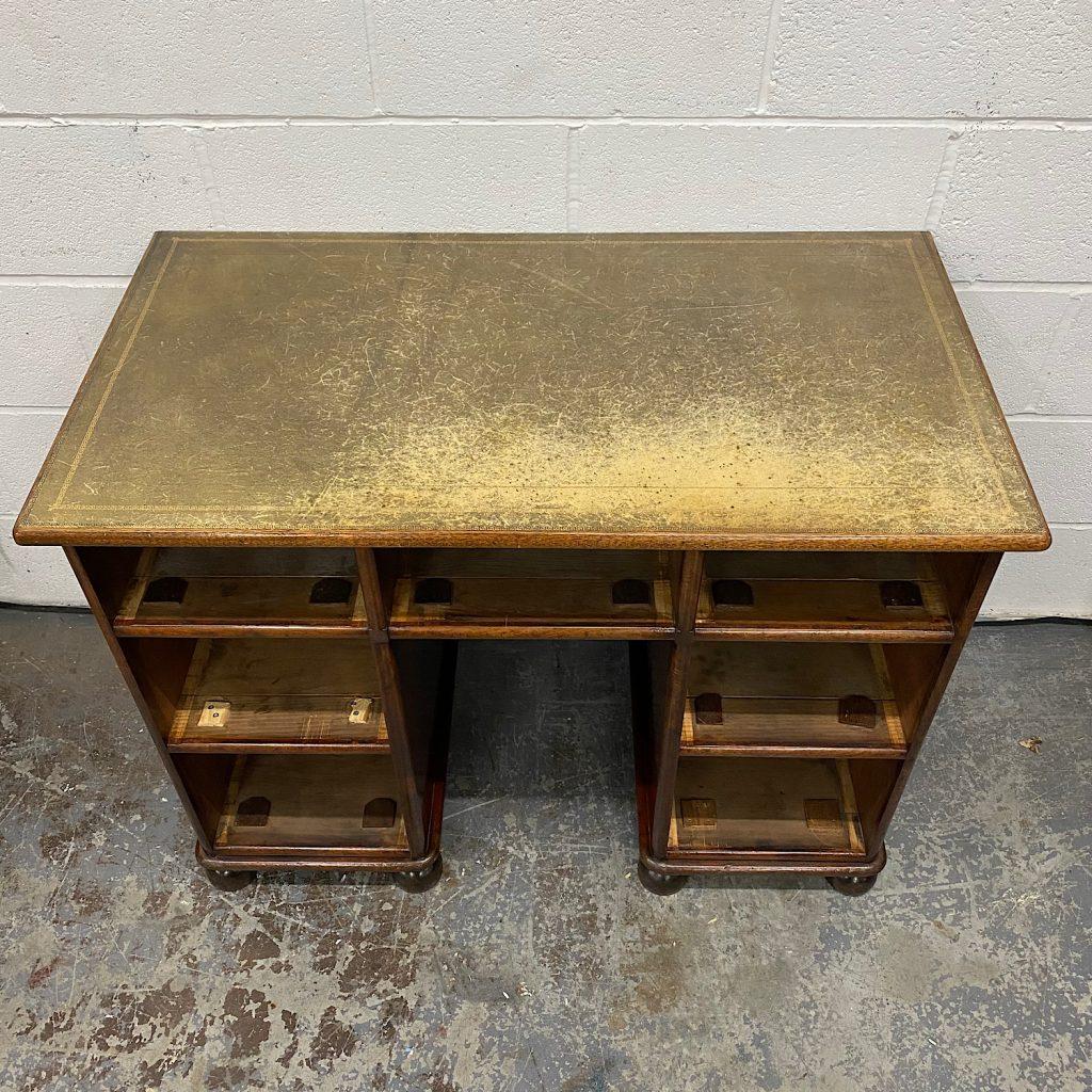 desk leather worn