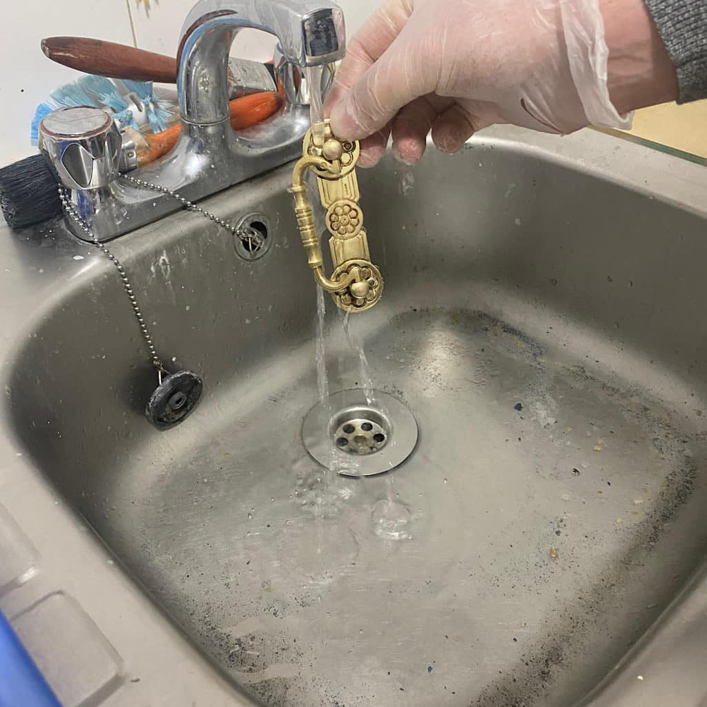 rinse with warm running water