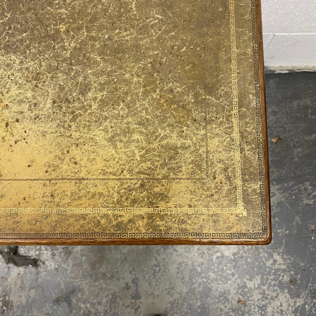 close up of faded desk leather