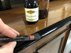 Ebonising wood with a French polishing brush