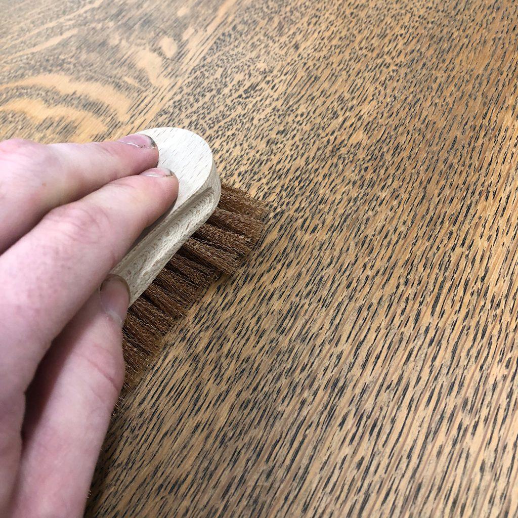 Use Liberon Liming Bronze Brush to open the Grain