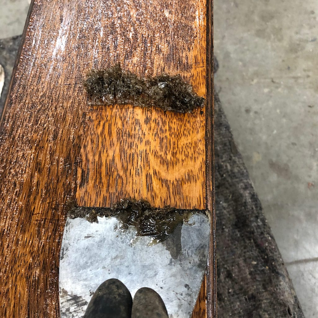 strip the Wood with a scraper before liming
